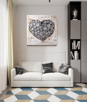Work Of Heart Silver Mixed-Media Wall Art  4DWA0114