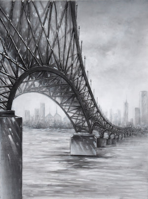 Moody Bridge Mixed-media on Canvas Wall Art