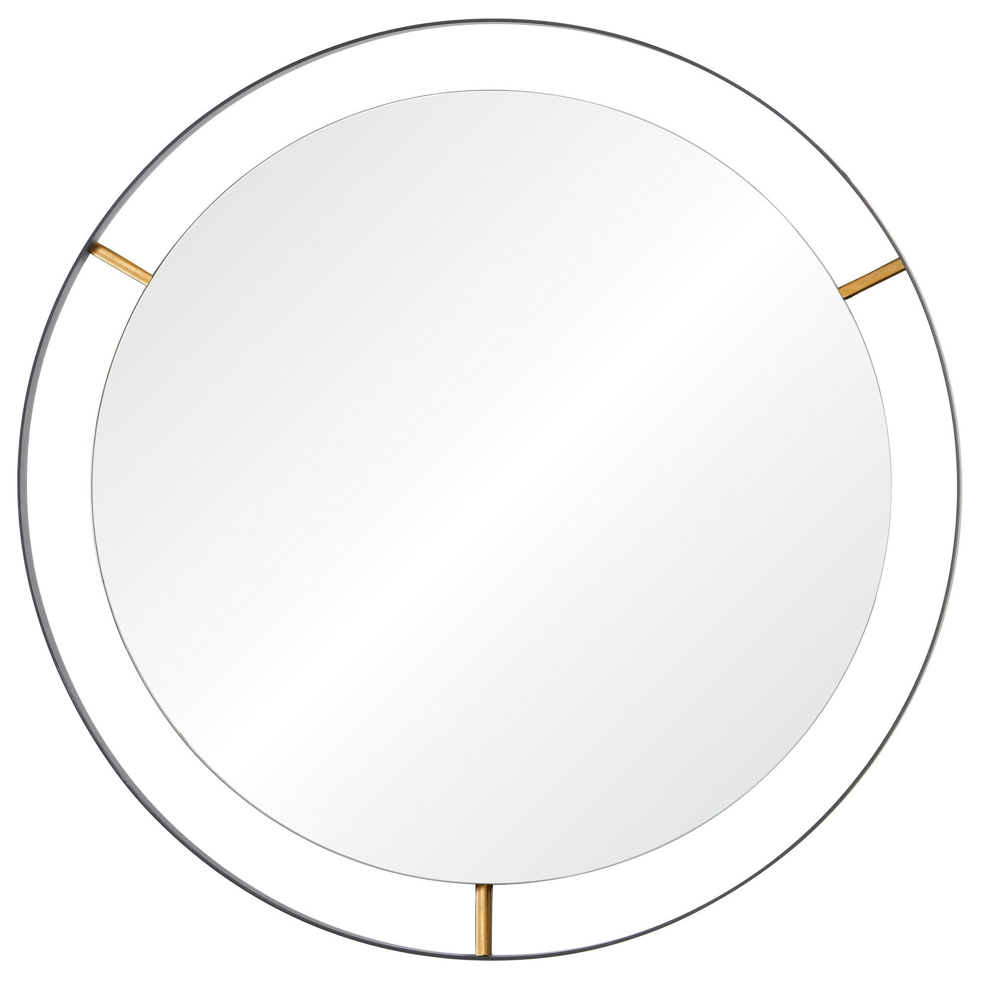 Framed 610000 20-In Round Wall Mirror - Black w/ Antique Gold