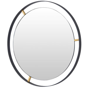Framed 610010 30-In Round Wall Mirror - Black w/ Antique Gold