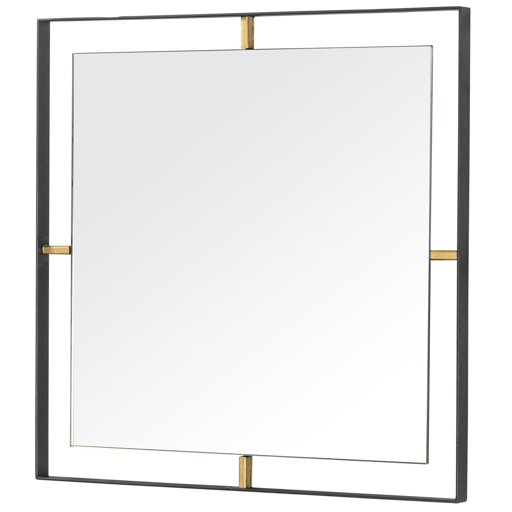 Framed 610020 20x20-In Square Wall Mirror -Black w/ Antique Gold