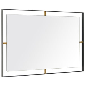 Framed 610030 20x30-In Rectangular Wall Mirror - Black w/ Antique Gold