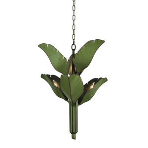 Banana Leaf 6-Lt Chandelier- Natural Green
