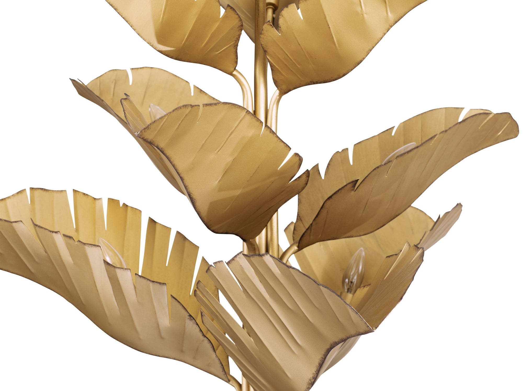 Banana leaf 9-Lt Chandelier- Edged Gold