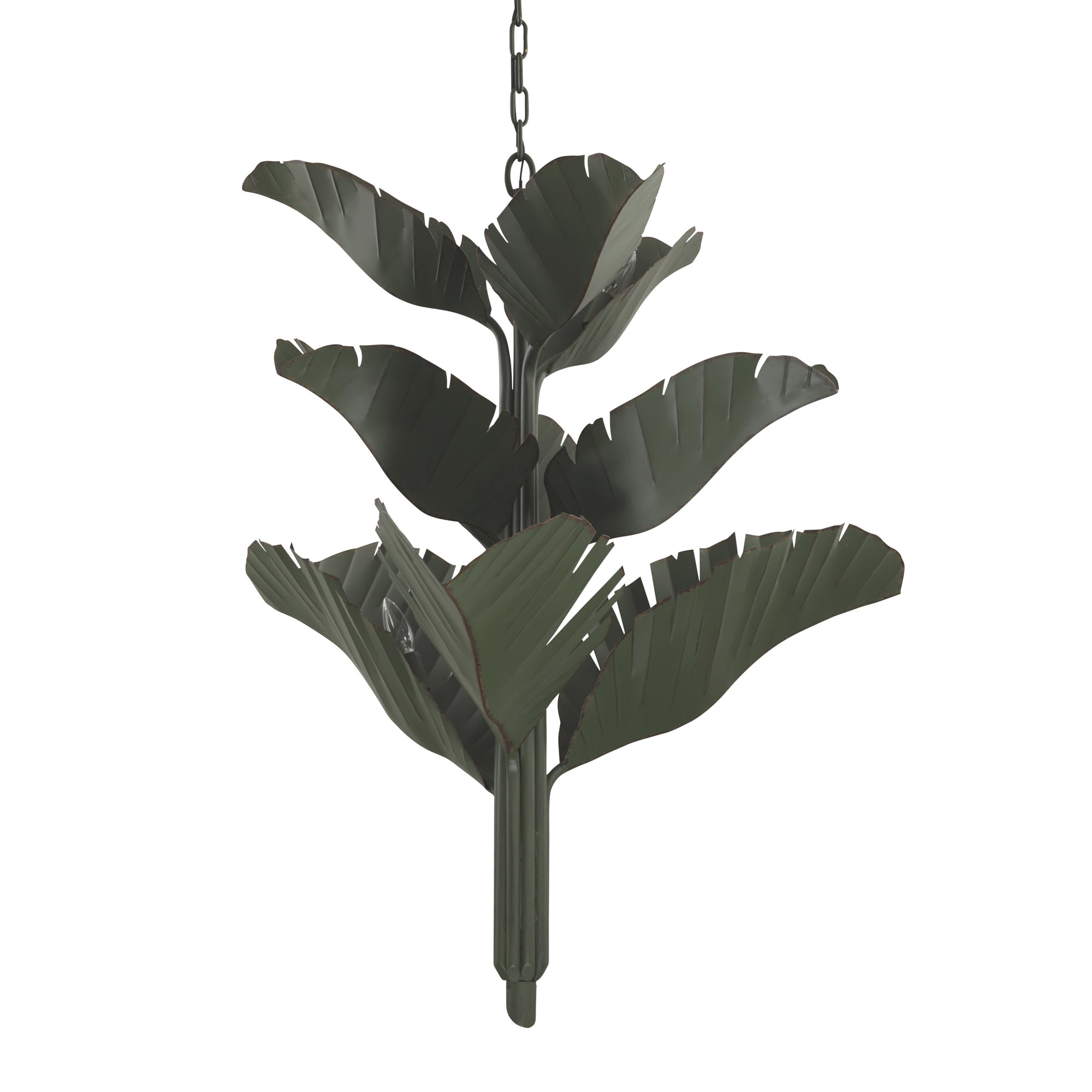 Banana Leaf 9-Lt Chandelier - Natural Green