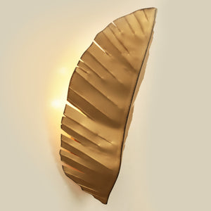 Banana leaf 3-Lt Tall Sconce - Gold