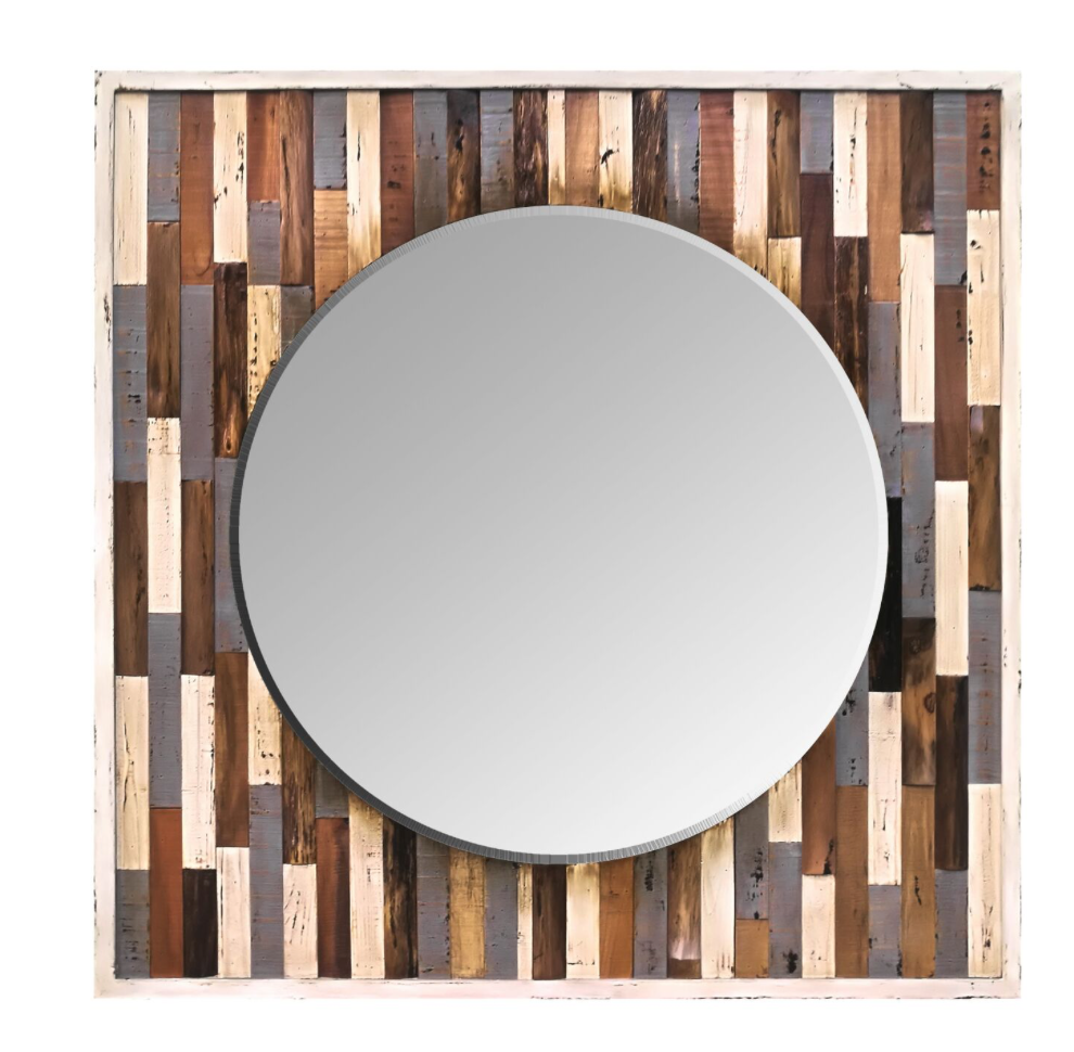 Country Pine Reclaimed Frame Mirror 405A30