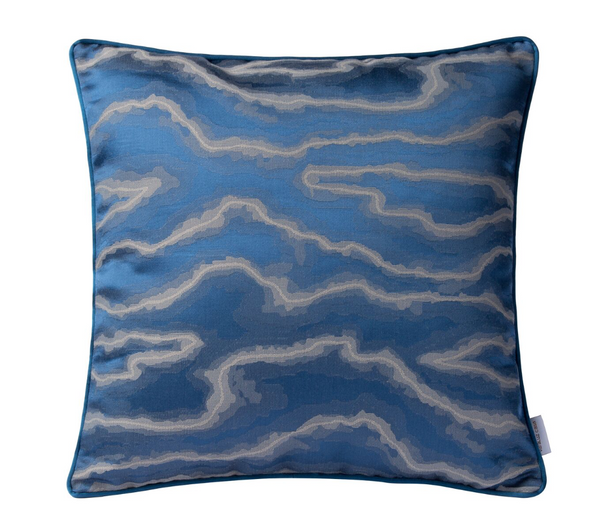 Blue And Silver Fluid Square Throw Pillow 426A10