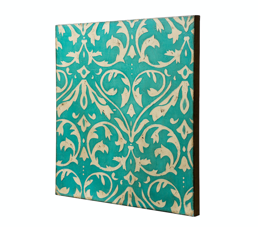 Teal Damask Trefoil Wall Art - Distressed Teal/Ivory 425A50