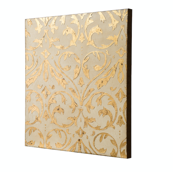 Gold Damask Trefoil Wall Art - Ivory/Gold 425A60