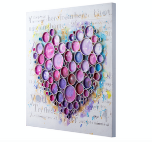 Work Of Heart Fuschia Mixed-Media Wall Art  4DWA0112