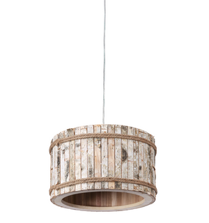 Woody 1-Lt Drum Pendant - White Aspen Bark 276P01B