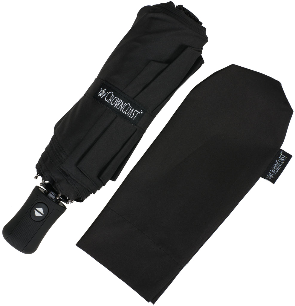 Black Compact Windproof 60 mph Outdoor 8 Rib Travel Umbrella