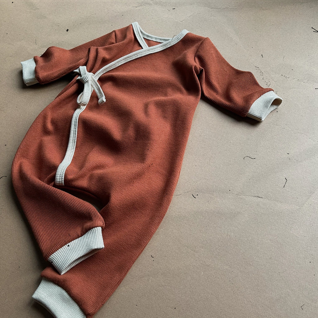 Burnt Umber Ribbed Romper