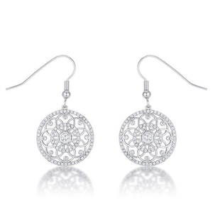 .95 Ct Interlocking Circle Rhodium and Cubic Zirconia Earrings