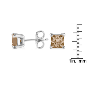 14K White Gold .20ct TDW Champagne Princess Cut Diamond Solitaire Stud Earrings