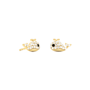14 Karat Gold Plated Mini CZ Whale Studs