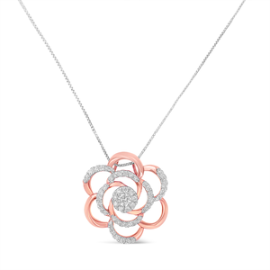 10k Rose Gold Plated Flower Accent Pendant Necklace with 1/2ct. TDW Round Cut Diamond (H-I,I1-I2)