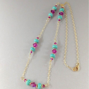 14K Gold Filled Pink Turquoise Gemstone Necklace