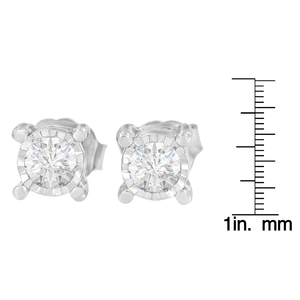 Sterling Silver 1ct TDW Miracle Plated Round-cut Diamond Earrings (H-I, I2-I3)