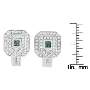 14K White Gold 1ct. TDW Round and Princess-cut Treated Blue Diamond Earrings (H-I,SI1-SI2)