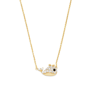 14 Karat Gold Plated Mini CZ Whale Necklace