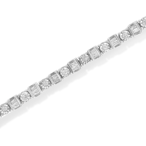 Sterling Silver 1ct TDW Round and Baguette Diamond Tennnis Bracelet (H-I,I2-I3)