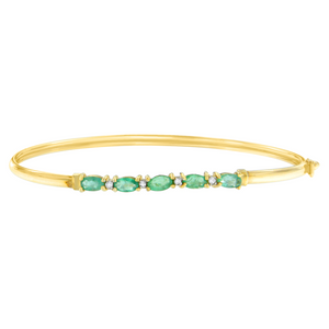 10K Yellow Gold 0.02ct TDW Diamond and Emerald Bangle