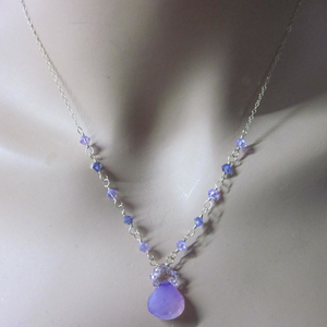 14 KT Gold Filled Purple Chalcedony Drop Necklace