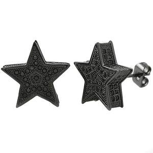 3D Star Jumbo Black CZ Earrings