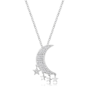 .6Ct Dazzling Rhodium Moon & Stars Necklace