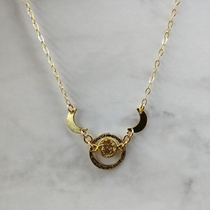 14 KT Gold Filled Crescent Circle Druzy Necklace