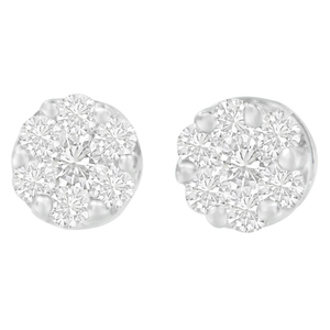 14K White Gold 1 1/4ct. TDW Round-cut Diamond Earrings