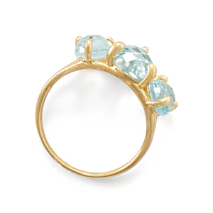 14 Karat Gold Plated Sky Blue Topaz Cocktail Ring