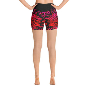 Black & Red Mandala Flower Shorts
