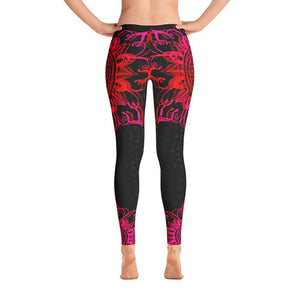 Red Mandala Black Leggings