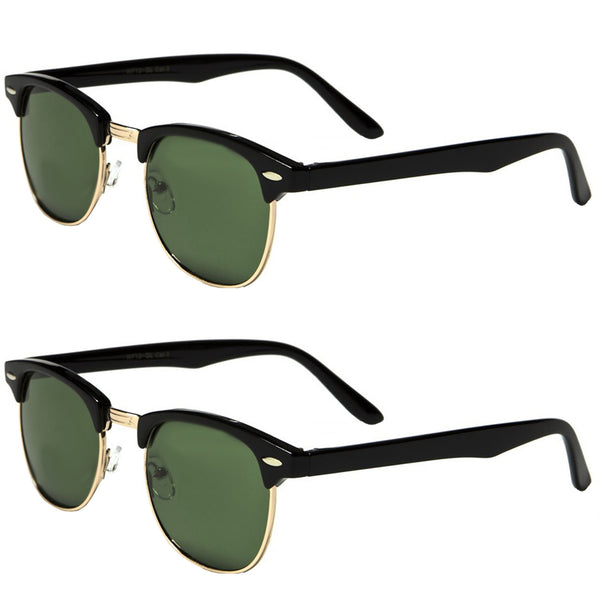 Set of 2 Pairs - Classic Clubmaster Style Sunglasses - Black