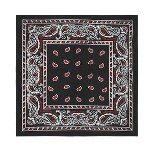 Square Bandana - Black & Red Paisley
