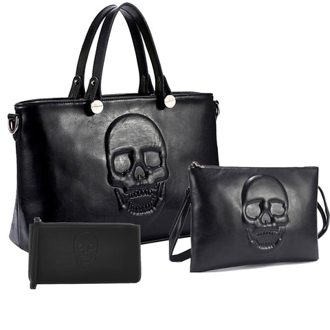 Mechaly Women's Skully Black Vegan Leather Skull Handbag, Crossbody, Wallet Set