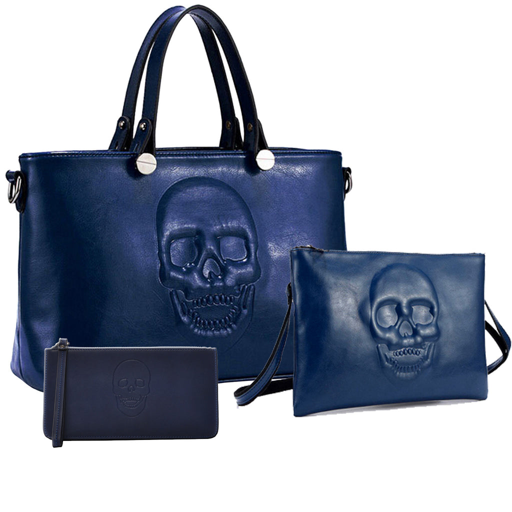 Mechaly Women's Skully Blue Vegan Leather Skull Handbag, Crossbody, Wallet Set
