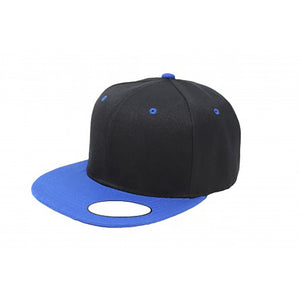Snapback Flat Brim - Black & Royal Blue Plain