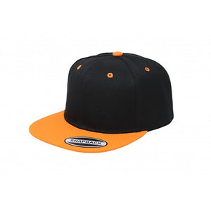 Snapback Flat Brim - Black & Orange Plain