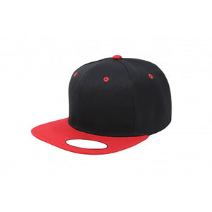 Snapback Flat Brim - Black & Red Plain
