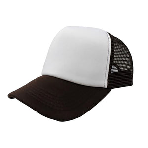 Trucker Hat - White & Brown Plain