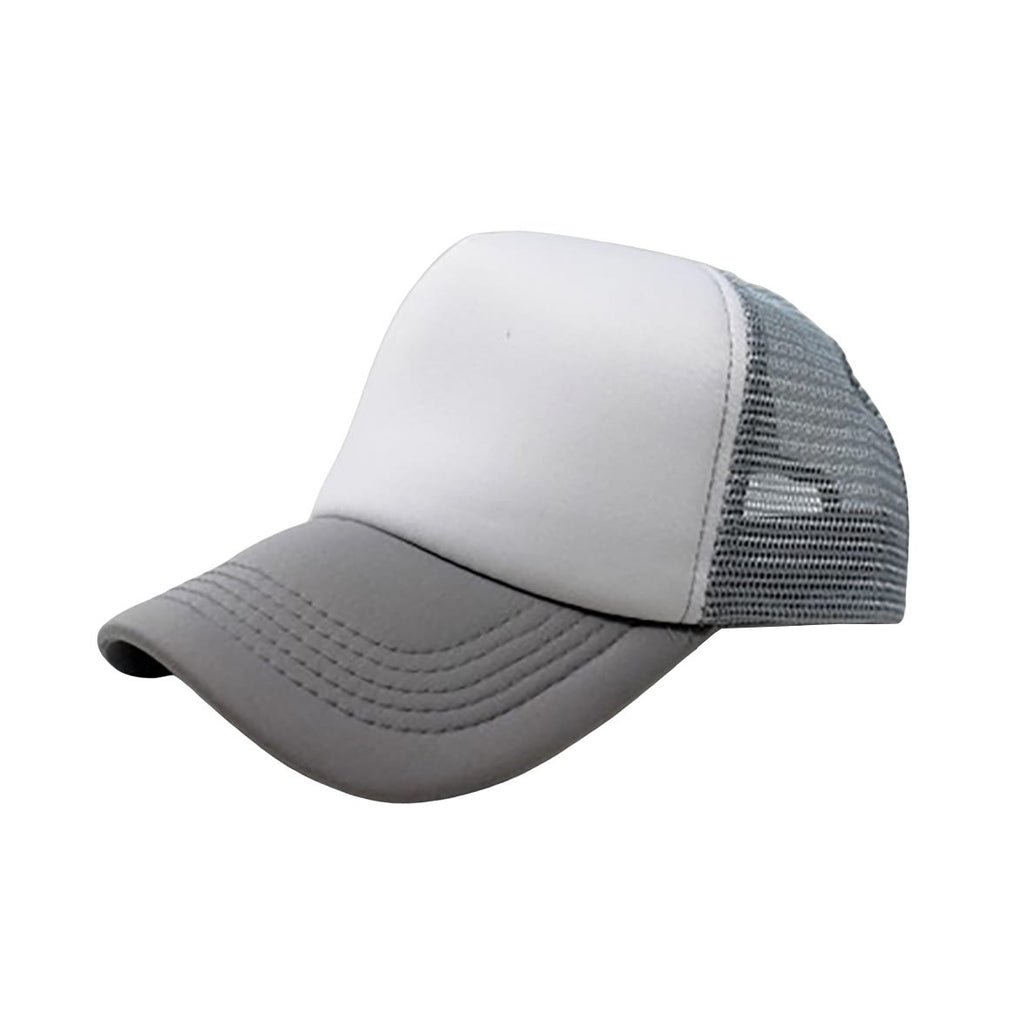 Trucker Hat - White & Grey Plain