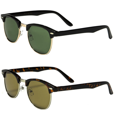 Set of 2 Pairs - Classic Clubmaster Style Sunglasses - Black & Tortoise