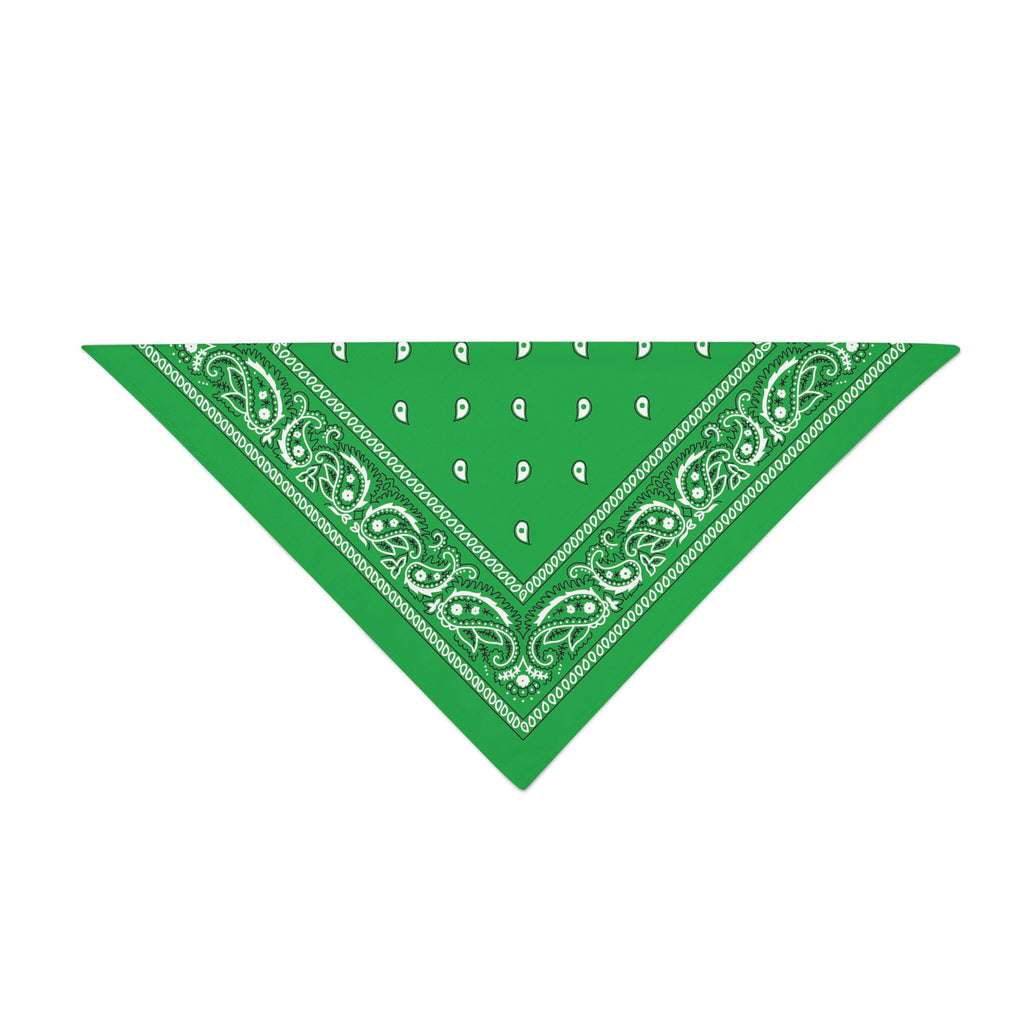 Triangle Bandana - Green Paisley