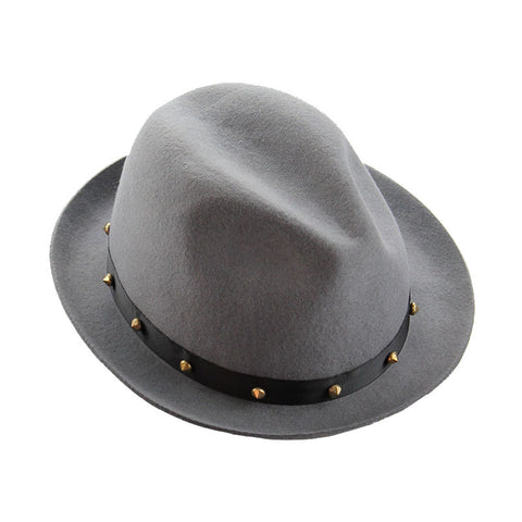 Mechaly Women's Haden Grey Spiky Fedora Hat