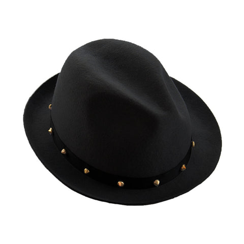 Mechaly Women's Haden Black Spiky Fedora Hat