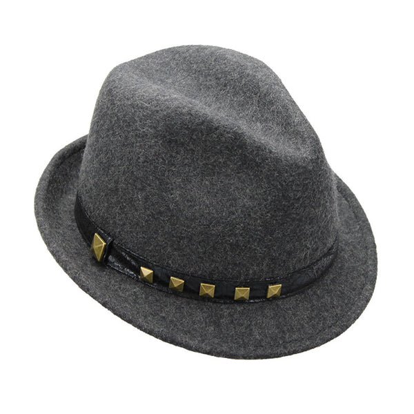 Heather Grey Studded Fedora Hat